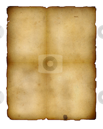 Aged paper stock photo, Highly detailed textured antique paper illustration isolated on white , great grunge background for your projects with space for your text or image by GPimages