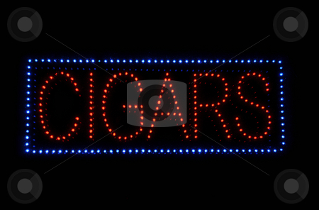 Cigar Neon Sign stock photo, Cigar Neon Light Red and Blue Sign by Brandon Bourdages