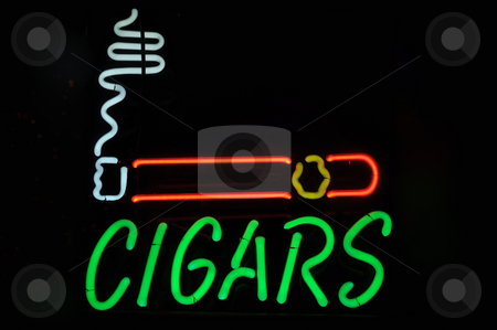 Cigars Neon Light Smoking Sign stock photo, Cigars Neon Light Smoking Sign by Brandon Bourdages