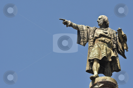 Christopher Columbus Statue stock photo, Christopher Columbus Day Statue Pointing with Space by Brandon Bourdages
