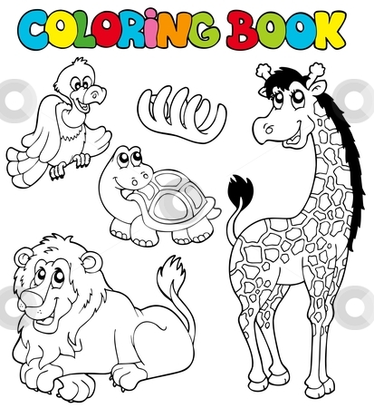 Coloring book with tropic animals 2 stock vector clipart, Coloring book with tropic animals 2 - vector illustration. by Klara Viskova