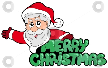 Merry Christmas sign with Santa stock vector