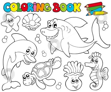 Coloring book with marine animals 2 stock vector clipart, Coloring book with marine animals 2 - vector illustration. by Klara Viskova