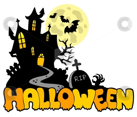 Halloween house with sign 1 stock vector clipart, Halloween house with sign 1 - vector illustration. by Klara Viskova