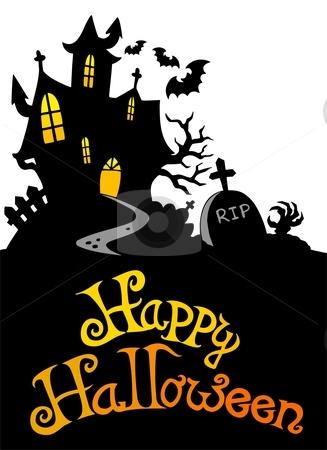 Halloween house with sign 3 stock vector clipart, Halloween house with sign 3 - vector illustration. by Klara Viskova