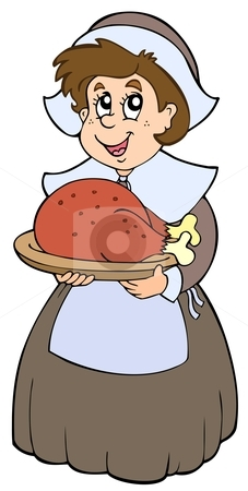 Pilgrim woman with roast turkey stock vector clipart, Pilgrim woman with roast turkey - vector illustration. by Klara Viskova