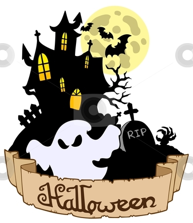 Halloween theme with ghost stock vector clipart, Halloween theme with ghost - vector illustration. by Klara Viskova
