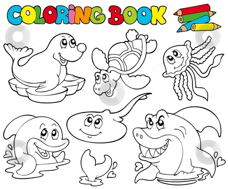 Coloring book with marine animals 1 stock vector clipart, Coloring book with marine animals 1 - vector illustration. by Klara Viskova