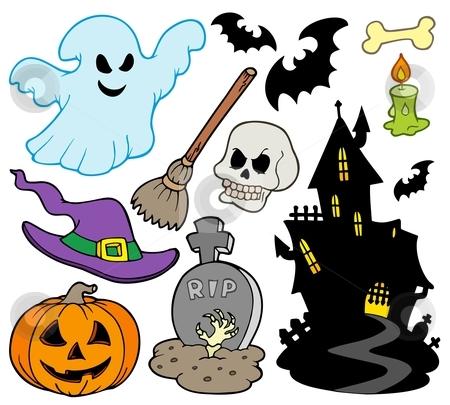 Set of Halloween images stock vector clipart, Set of Halloween images - vector illustration. by Klara Viskova