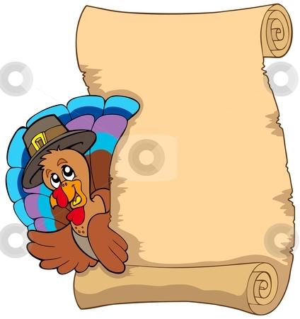 Thanksgiving scroll with turkey 1 stock vector clipart, Thanksgiving scroll with turkey 1 - vector illustration. by Klara Viskova