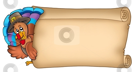 Lurking turkey with old scroll stock photo, Lurking turkey with old scroll - color illustration. by Klara Viskova