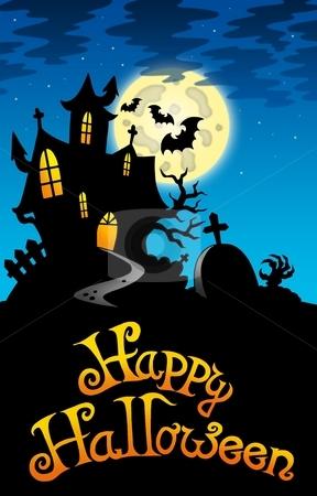 Halloween image with old mansion stock photo, Halloween image with old mansion - color illustration. by Klara Viskova