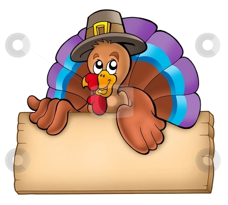 Wooden board with lurking turkey stock photo, Wooden board with lurking turkey - color illustration. by Klara Viskova