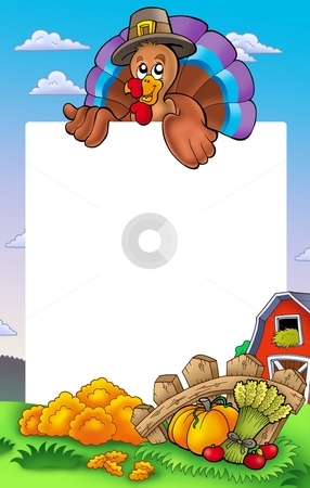Thanksgiving frame with turkey 2 stock photo, Thanksgiving frame with turkey 2 - color illustration. by Klara Viskova