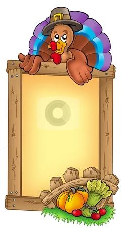 Wooden frame with lurking turkey stock photo, Wooden frame with lurking turkey - color illustration. by Klara Viskova