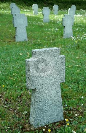 Empty tombstones stock photo, Empty stone tombstones, they belong to german soldiers fallen in slovakia by Robert Remen