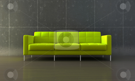 Green sofa stock photo, Green sofa in modern room with parquet and concrete wall by Giordano Aita
