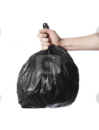 Trash stock photo, Man holding a full black plastic trash bag in his hand. by Stocksnapper