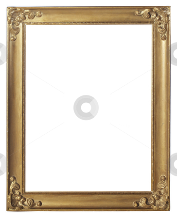 Old frame stock photo, Old gold colored picture frame isolated on white by Stocksnapper