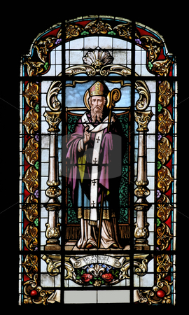 Saint Leonard of Noblac  stock photo, Saint Leonard of Noblac, stained glass by Zvonimir Atletic