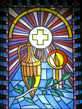 Anointing of the Sick stock photo, Anointing of the Sick, stained glass by Zvonimir Atletic