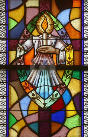 Baptism, Seven Sacraments stock photo, Baptism, Seven Sacraments, Stained glass church window by Zvonimir Atletic