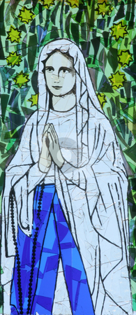 Virgin Mary stock photo, Virgin Mary, stained glass by Zvonimir Atletic