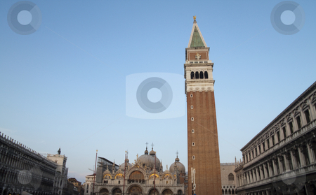 St. Marks Square stock photo, The Campanile tower in St. Marks square, Venice, Italy by Kevin Tietz