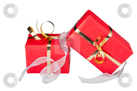 Gift Boxes with Ribbon stock photo, Two red and gold gift boxes with a flowing silver ribbon, isolated on white by Timothy Hodgkinson
