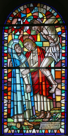 Virgin Mary and Saint John under the cross  stock photo, Virgin Mary and Saint John under the cross, stained glass by Zvonimir Atletic
