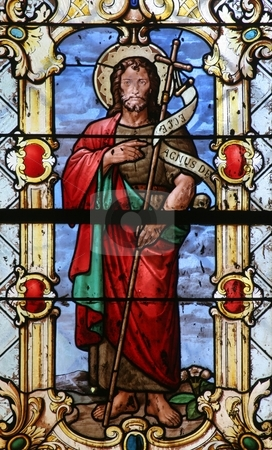 Saint John the Baptist  stock photo, Saint John the Baptist, stained glass by Zvonimir Atletic