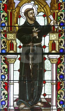 Saint Nikola Tavelic  stock photo, Saint Nikola Tavelic, stained glass by Zvonimir Atletic