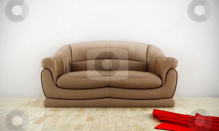 Comfortable leather sofa stock photo, Leather comfortable sofa in luminous room with parquet floor by Giordano Aita