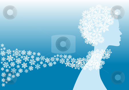 Winter woman stock vector clipart, Winter girl with snowflake hat and  shawl, vector background by Beata Kraus