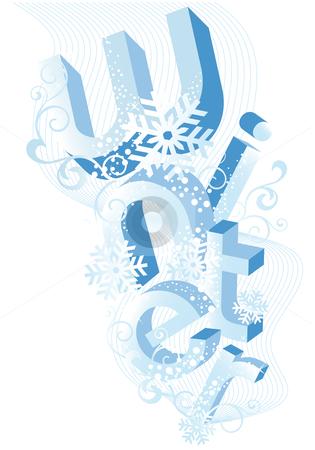 Winter background, vector stock vector clipart, Winter, abstract background with 3D letters, vector by Beata Kraus