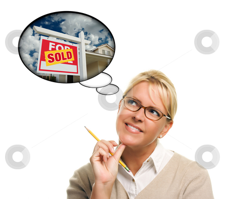 Woman with Thought Bubbles of a Sold Real Estate Sign stock photo, Woman with Thought Bubbles of a Sold Real Estate Sign to a New Home Isolated on a White Background. by Andy Dean