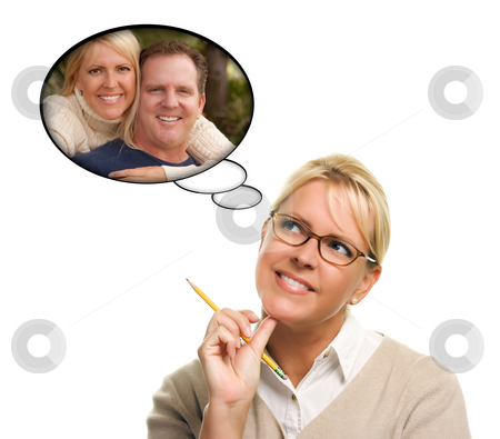 Beautiful Woman with Thought Bubbles of Herself and A Guy stock photo, Beautiful Woman with Thought Bubbles of Herself and A Guy Isolated on a White Background. by Andy Dean