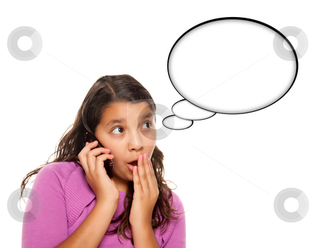 Shocked Hispanic Teen Aged Girl on Phone with Blank Thought Bubb stock photo, Shocked Hispanic Teen Aged Girl on Cell Phone with Blank Thought Bubble Isolated on a White Background - Contains Clipping Paths. by Andy Dean
