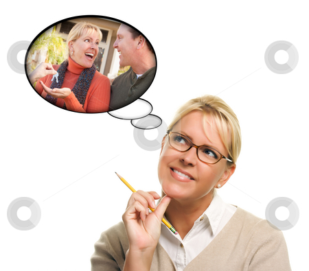 Woman with Thought Bubbles of Getting The Keys to a New Home stock photo, Woman with Thought Bubbles of Herself and Her Husband Getting The Keys to a New Home Isolated on a White Background. by Andy Dean