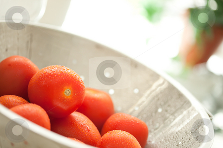 Fresh, Vibrant Roma Tomatoes in Colander with Water Drops stock photo, Macro of Fresh, Vibrant Roma Tomatoes in Colander with Water Drops Abstract. by Andy Dean