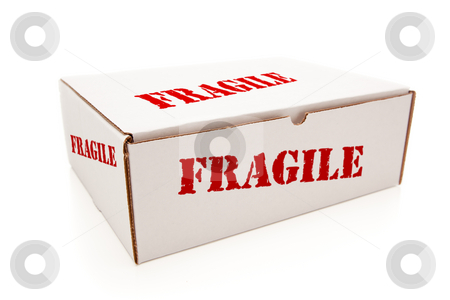 White Box with Fragile on Sides Isolated stock photo, White Box with the Word Fragile on the Sides Isolated on a White Background. by Andy Dean