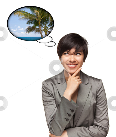 Beautiful Multiethnic Woman with Thought Bubbles of Tropical Pla stock photo, Beautiful Multiethnic Woman with Thought Bubbles of a Tropical Place Isolated on a White Background. by Andy Dean
