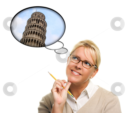 Woman with Thought Bubbles of Travelling to Europe stock photo, Woman with Thought Bubbles of Travelling to Europe Isolated on a White Background. by Andy Dean