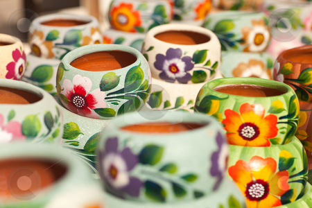 Variety of Colorfully Painted Ceramic Pots stock photo, Variety of Colorfully Painted Ceramic Pots in an Outdoor Shopping Market. by Andy Dean