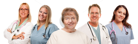 Smiling Senior Woman with Medical Doctors and Nurses Behind stock photo, Smiling Senior Woman with Medical Doctors and Nurses Behind Isolated on a White Background. by Andy Dean