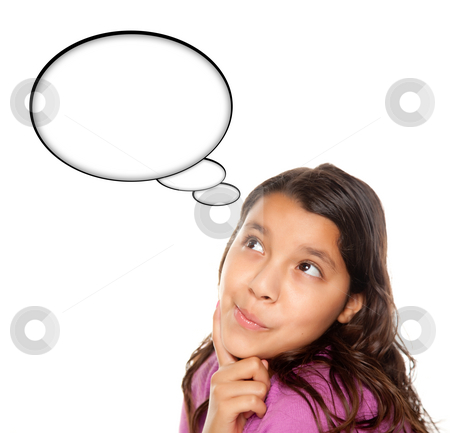 Hispanic Teen Aged Girl with Blank Thought Bubble stock photo, Hispanic Teen Aged Girl with Blank Thought Bubble Isolated on a White Background - Contains Clipping Paths. by Andy Dean