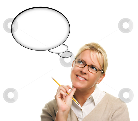 Beautiful Woman and Blank Thought Bubbles with Clipping Path stock photo, Beautiful Woman and Blank Thought Bubbles with Clipping Path Isolated on a White Background - Ready for Your Own Words or Picture. by Andy Dean