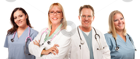 Set of Smiling Male and Female Doctors or Nurses stock photo, Set of Smiling Male and Female Doctors or Nurses Isolated on a White Background. by Andy Dean