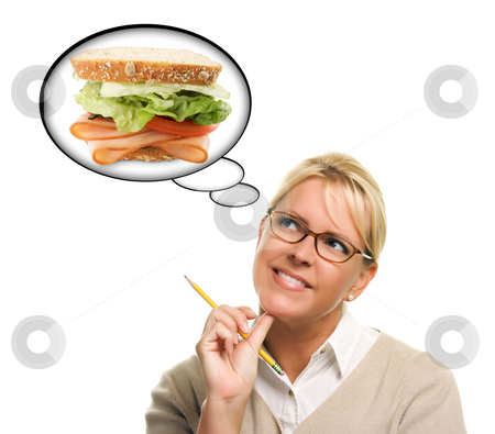 Hungry Woman with Thought Bubbles of Big, Fresh Sandwich stock photo, Hungry Woman with Thought Bubbles of Big, Fresh Sandwich Isolated on a White Background. by Andy Dean