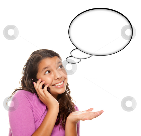 Hispanic Teen Aged Girl on Cell Phone with Blank Thought Bubble stock photo, Hispanic Teen Aged Girl on Cell Phone with Blank Thought Bubble Isolated on a White Background - Contains Clipping Paths. by Andy Dean